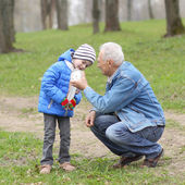 Grandfather and grandson study time — Stock Photo