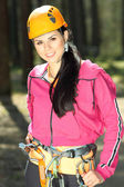 Portrait of beautiful girl in climbing gear — Foto Stock
