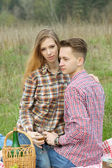 Young beautiful fashion couple — Stock Photo