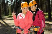 Girls in climbing gear — Stock Photo