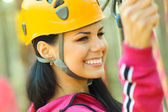 Girl engaged climbing — Stock Photo