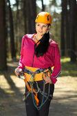Girl in climbing gear — Stock Photo