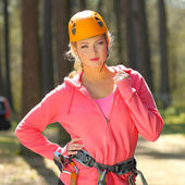 Girl in climbing gear — Stock Photo
