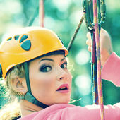 Girl climber — Stock Photo