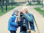 Family makes movies — Stock Photo