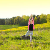 žena praxe jógy — Stock fotografie
