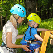 Mom and son in outfit for climbing — Stock Photo