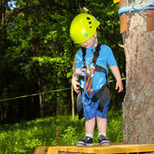 Little boy in outfit for climbing — Stock Photo