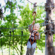 Little boy ziplining — Stock Photo