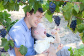 Father and son eating grapes — Stock Photo