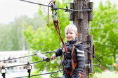 Little boy at a canopy tour — Foto de Stock