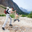 Father and his son hiking — Stock Photo