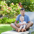Family of two at hawaii vacation — Stock Photo
