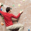 Stock Photo: Rock climbing indoors