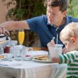 Family at breakfast — Stock Photo