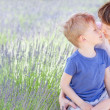 Family at lavender field — Stock Photo #28956405