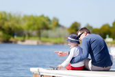 Family at the dock — Stock Photo