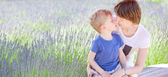 Family at lavender field — Stock Photo