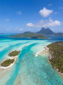 Bora bora from helicopter — Stock Photo