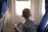 Boy in the plane — Stock Photo