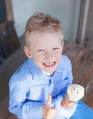 Boy eating ice-cream — Stock Photo
