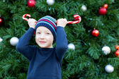 Kid at christmas time — Stock Photo