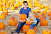 Family at pumpkin patch — Stok fotoğraf