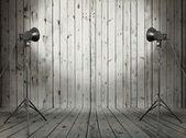 Studio in old wooden room — Stock Photo