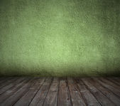 コンクリートの壁と古い緑の部屋 — ストック写真
