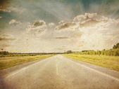 Road in a fields — Stockfoto