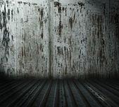 旧 grunge 金属房间 — 图库照片