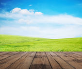 Grass, sky and floor — Stock Photo