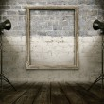 Vintage room with retro photo frame — Stock Photo