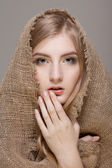 Woman with scarf — Stockfoto