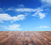 Sky and wood floor — Stock Photo