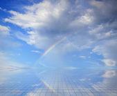 Blue sky and miror floor — Stock Photo