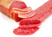 Smoked sausage and meat — Stock Photo
