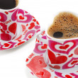 Two cups with coffee in the form of heart — Stock Photo