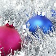 Christmas decorations and tinsel — Stock Photo