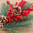 Christmas tree branch with adornments — Stock Photo