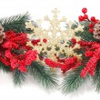 Two branches with Christmas snowflake — Stock Photo