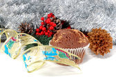 Chocolate cake and Christmas — Стоковое фото