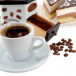 Stock Photo: Cup of black coffee with beans and dessert