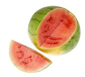 Small round watermelon ripe pitted and cut a piece of — Stock Photo
