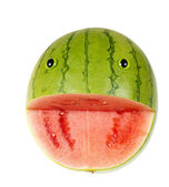 Funny face of watermelon — Stockfoto