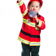 Five year old boy in a suit with a fire extinguisher firefighter — Stock Photo