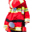 图库照片: Four year old boy dressed as firemshows that all is well