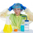 Child terrified of what he obtained as a result of chemical expe - Stock Photo