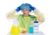 Child terrified of what he obtained as a result of chemical expe — Stock Photo