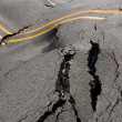 Earthquake - the destruction of the road crack — Stockfoto